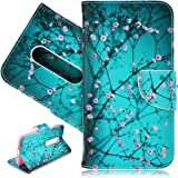 SmartLegend PU Leather Case for Motorola Moto G 3rd Generation(MOTO G3) Vintage Flower Spring Theme Fashion Wallet Pocket Flip Cover Cell Phone Hoslter with Magnet Closure and Card Slots Holster Bookstyle Stand Function Protective Cover - Peach Blossom