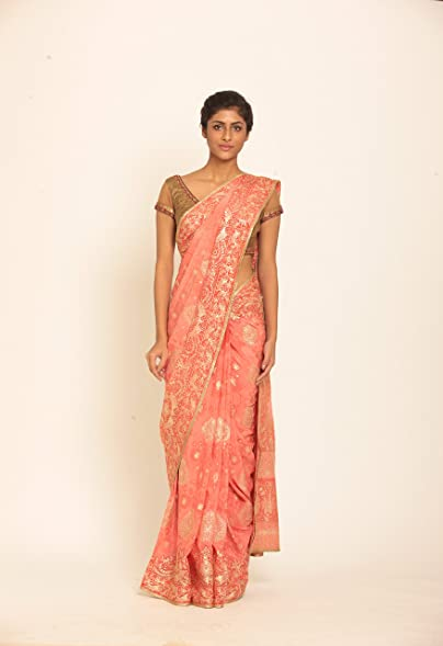 Amazon Peach Sari With Ari And Tikki Hand Embroidery By Ritu