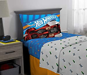 Franco Kids Bedding Super Soft Microfiber Sheet Set, 3 Piece Twin Size, Hot Wheels