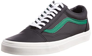 655779d66a Image Unavailable. Image not available for. Colour  Vans Men s Old Skool  Matte Leather Black and Verdant Green Canvas Sneakers - 8 UK