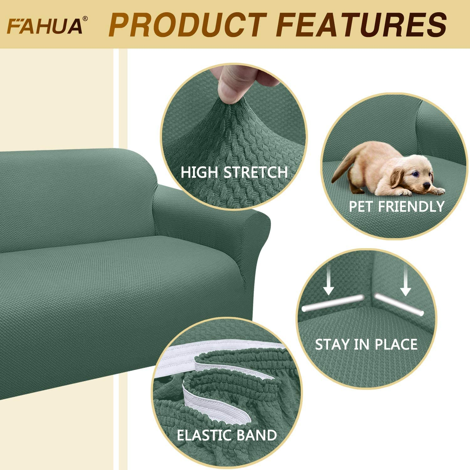 FAHUA Thick Loveseat Couch Covers 1-Piece Stretch Sofa Cover Slipcover Jacquard Non-Slip Furniture Protector for Dogs Pets Kids Machine Washable Medium, Beige