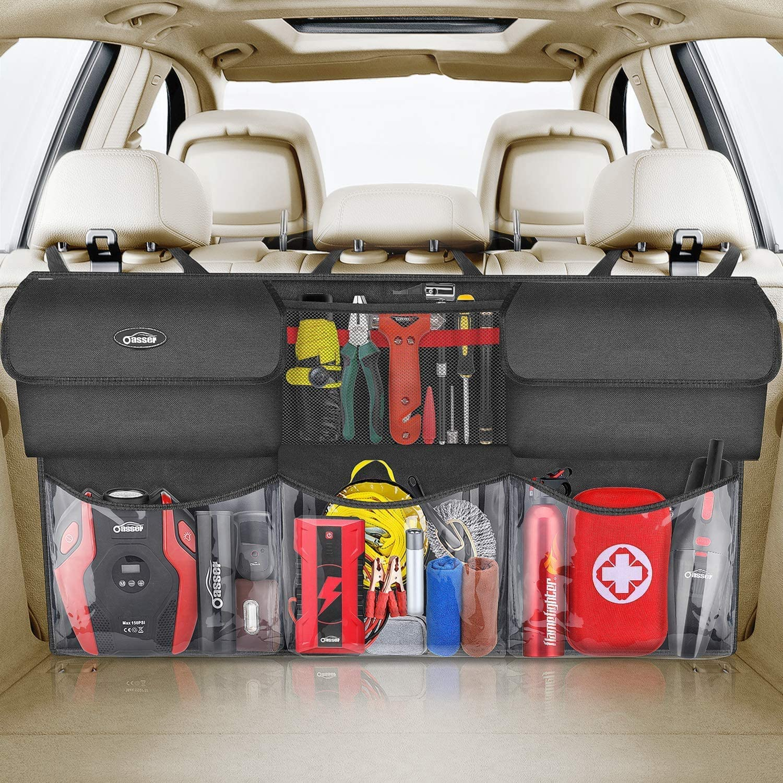 oasser Back Seat Trunk Organizer Hanging Car Organizer Trunk Foldable Cargo Storage with 6 Large Pockets 3 Adjustable Straps