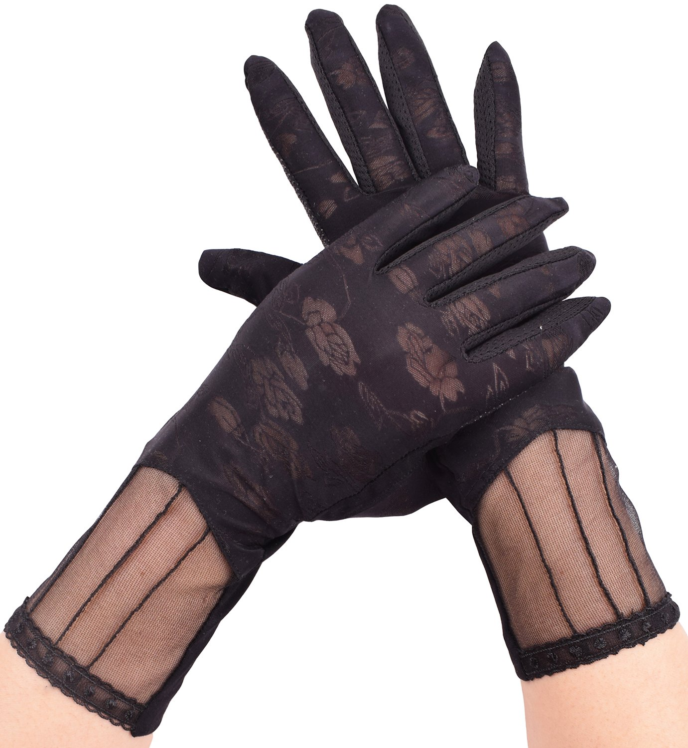Womens Black Driving Gloves Summer Lace UV Protection Gloves Touch Screen Gloves