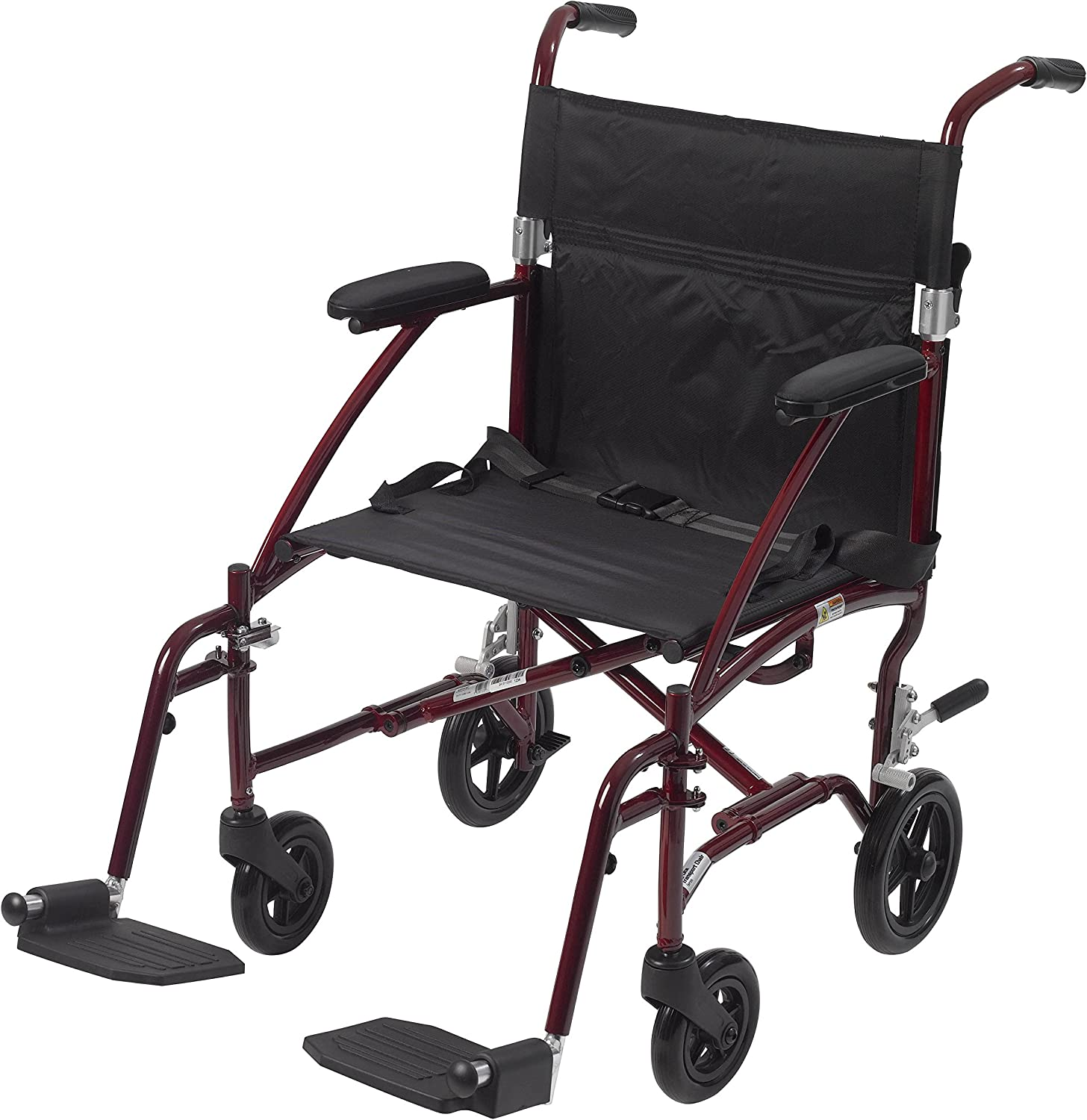 "Drive Medical Fly Lite Ultra Lightweight Transport Wheelchair, 19"", Red Frame 81chQ9YJJOL"