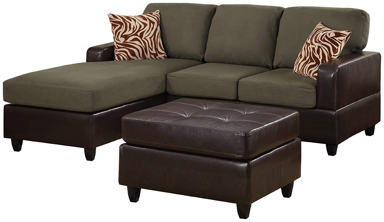amazoncom bobkona manhattan reversible microfiber 3piece sectional sofa with faux leather ottoman in sage color kitchen u0026 dining