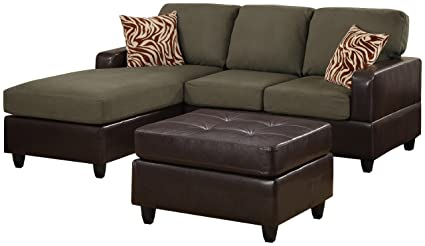 Bobkona Manhattan Reversible Microfiber 3 Piece Sectional Sofa With Faux  Leather Ottoman In Sage Color