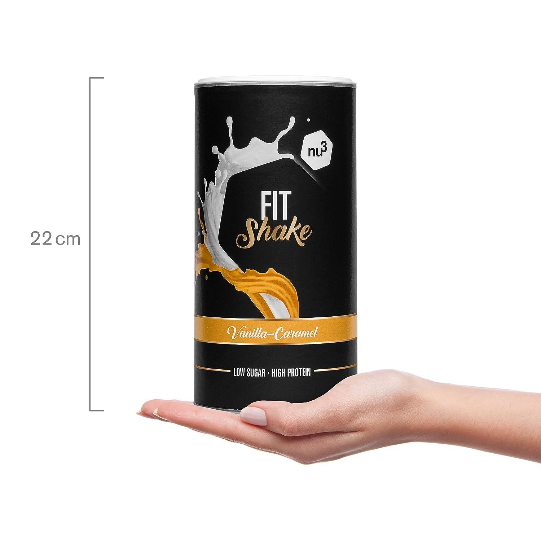nu3 Fit Shake sabor Vainilla - Caramelo I 450g I 73% de proteína de leche y colágeno I Bajo en azúcar y grasa I Solo 110 kcal I 10% de fibra + ...