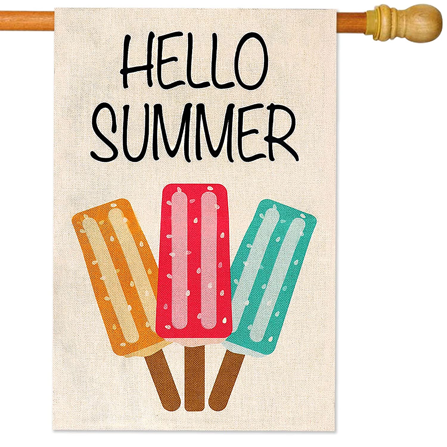 HiGift Hello Summer Garden Flag Vertical Double Sided Popsicles Burlap Flag Ice Cream Blue Red Yellow Pops, Welcome Summer Front Door Seasonal Rustic Yard Sign Outdoor Decoration (House Size-28