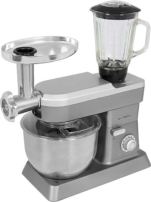 Gutfels KM 8101 SI - Robot de cocina (1200 W de potencia, cuenco de 6,2 L, incluye Licuadora y picadora de carne, metal, 6,2 litros: Amazon.es: Hogar