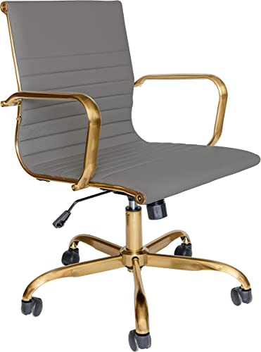 LeisureMod Harris Modern Adjustable Executive Swivel Leatherette Task Gold Office Chair Grey