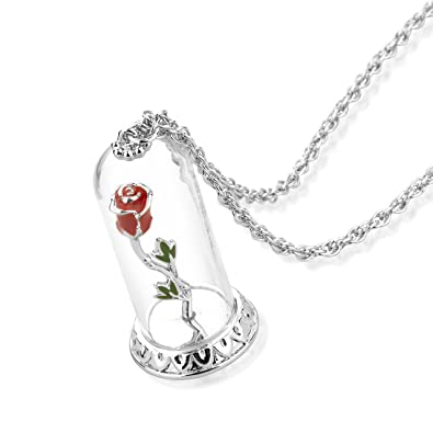 Disney Couture Cha\u0026icirc;ne avec pendentif en plaqu\u0026eacute; or blanc en  forme de rose