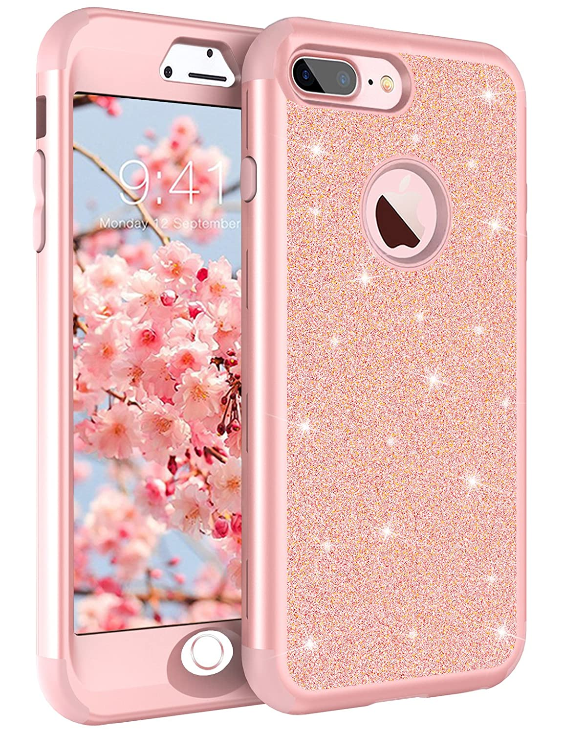 iPhone 8 Plus Case, iPhone 7 Plus Case Rose Gold for Women Girls, Tobomoco Shockproof Drop Protection 3 in 1 Glitter Bling Sparkly Hybrid Hard PC Soft Silicone Case for iPhone 7plus 5.5'