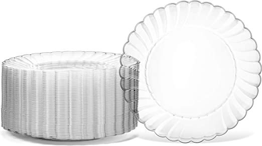 Clear,100 Count Party Birthday Wedding Disposable Round Quality Plastic Plates