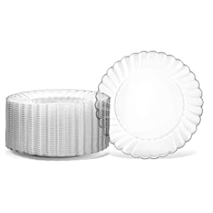 "100 Premium Hard Clear Plastic Plates Set By Oasis Creations - 6"" Clear Round Disposable Plates - Washable and Reusable"