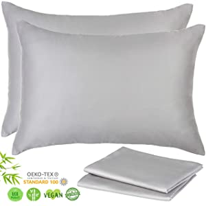 Lyocell Organic Bamboo Pillow Cases - Set of 2 Pillowcase with Zipper, Gray, King 20x36 Inches, Luxurious 156gsm Sateen Weave - Cooling Pillowcase, Hypoallergenic Ultra Soft Acne Pillowcase Like Silk