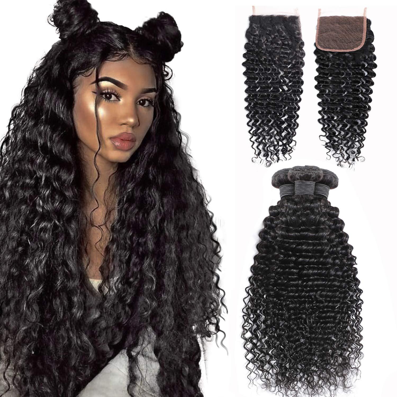 Amazon Com Deep Wave Bundles With Closure 20 22 24 18 Unprocessed Brazilian Virgin Human Hair Deep Curly 3 Bundles With Lace Closure Natural Black 20 22 24 18 Closure Beauty