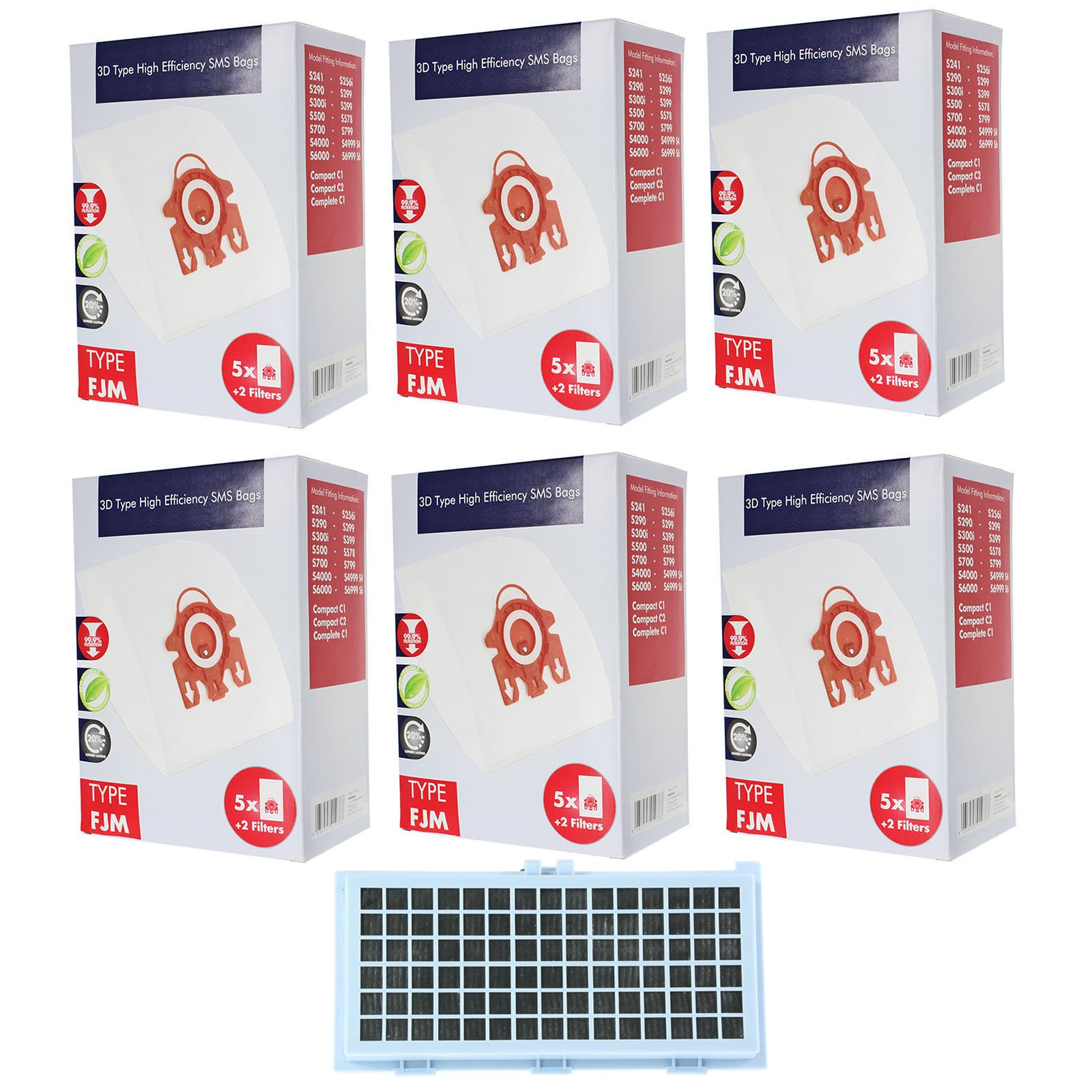 Spares2go 3D FJM Type Hyclean Bags + For Miele TT1800 TT2000 Vacuum Cleaner 30 Bags + Active HEPA Filter + Micro