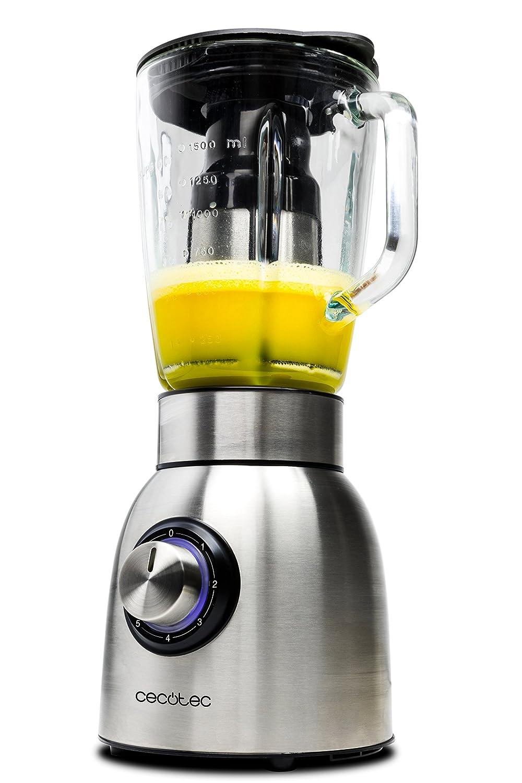 Batidora americana de vaso de 1250W con filtro para licuados, acero inoxidable, cristal fundido termorresistente y cuchillas de titanio, Power Titanium ...