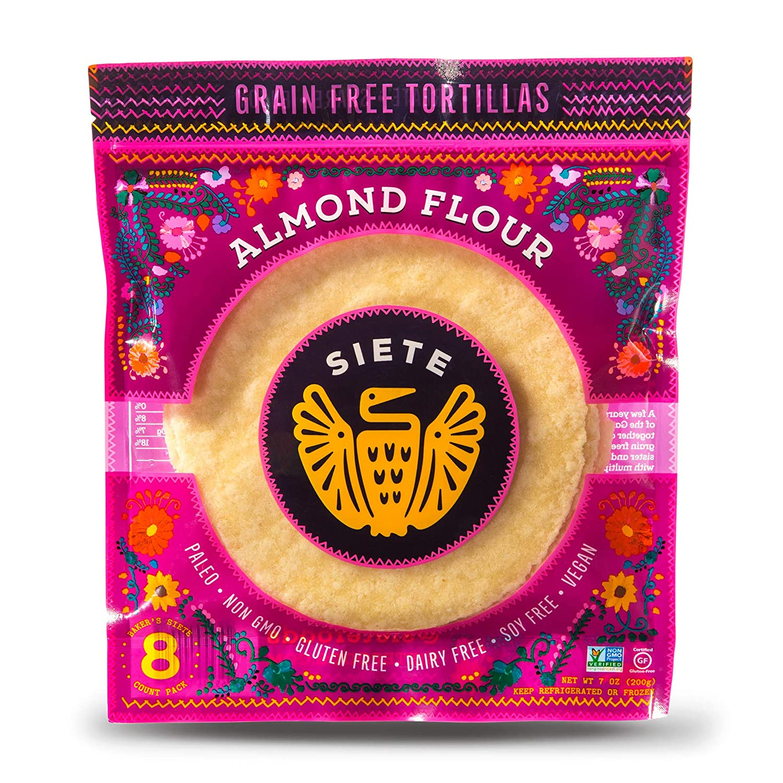 Siete Almond Grain Free Flour Tortillas. Vegan, Paleo and Gluten Free Low Carb Tortillas. (8 Tortillas Per Pack, 6-Pack, 48 Tortillas)