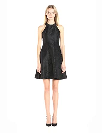 Calvin Klein Women's Halter Neck Fit and Flare Solid Brocade Dress, Black, 2