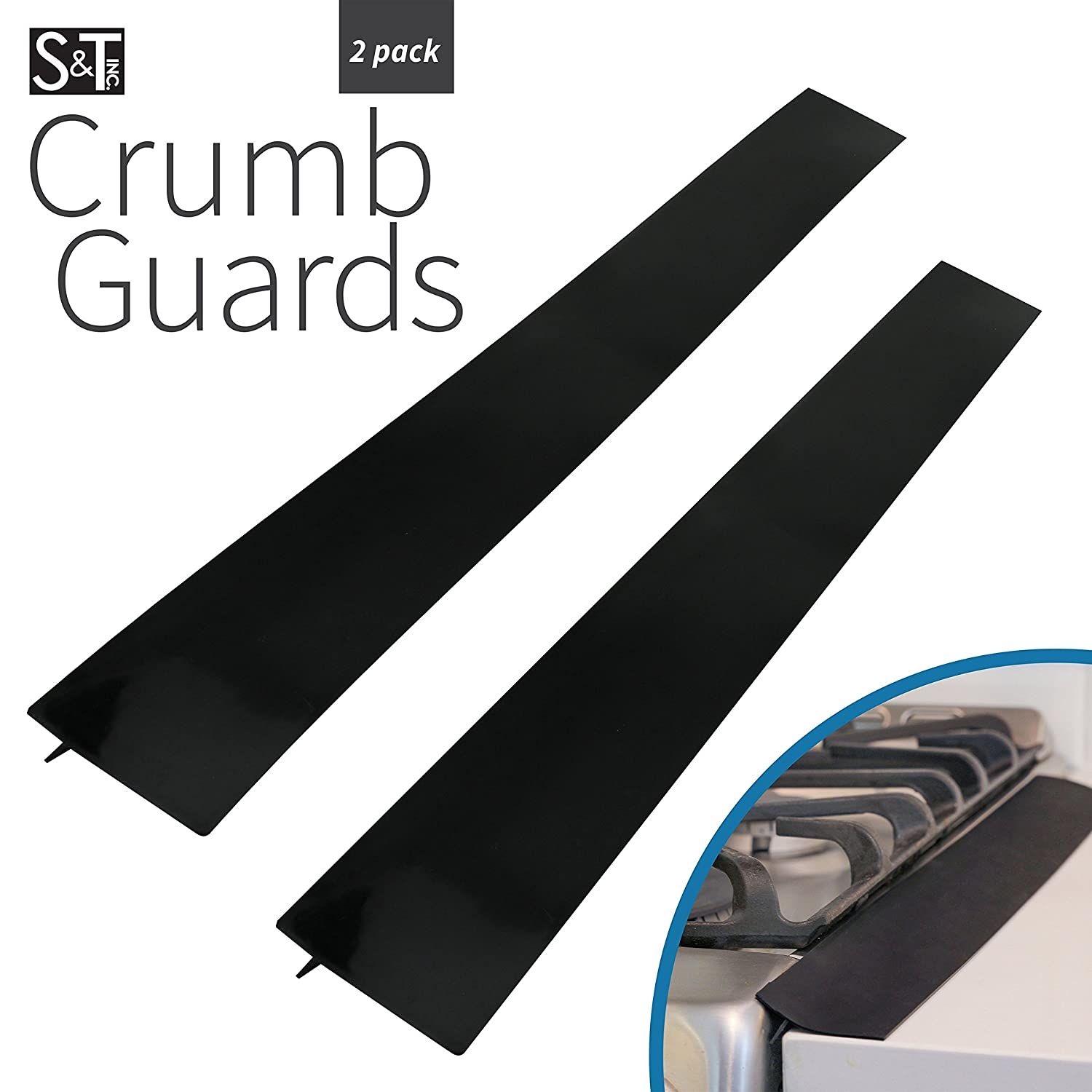 S&T Guards 449101 Silicone Crumb Guards & Stove Gap Cover, Black, 2 Pack
