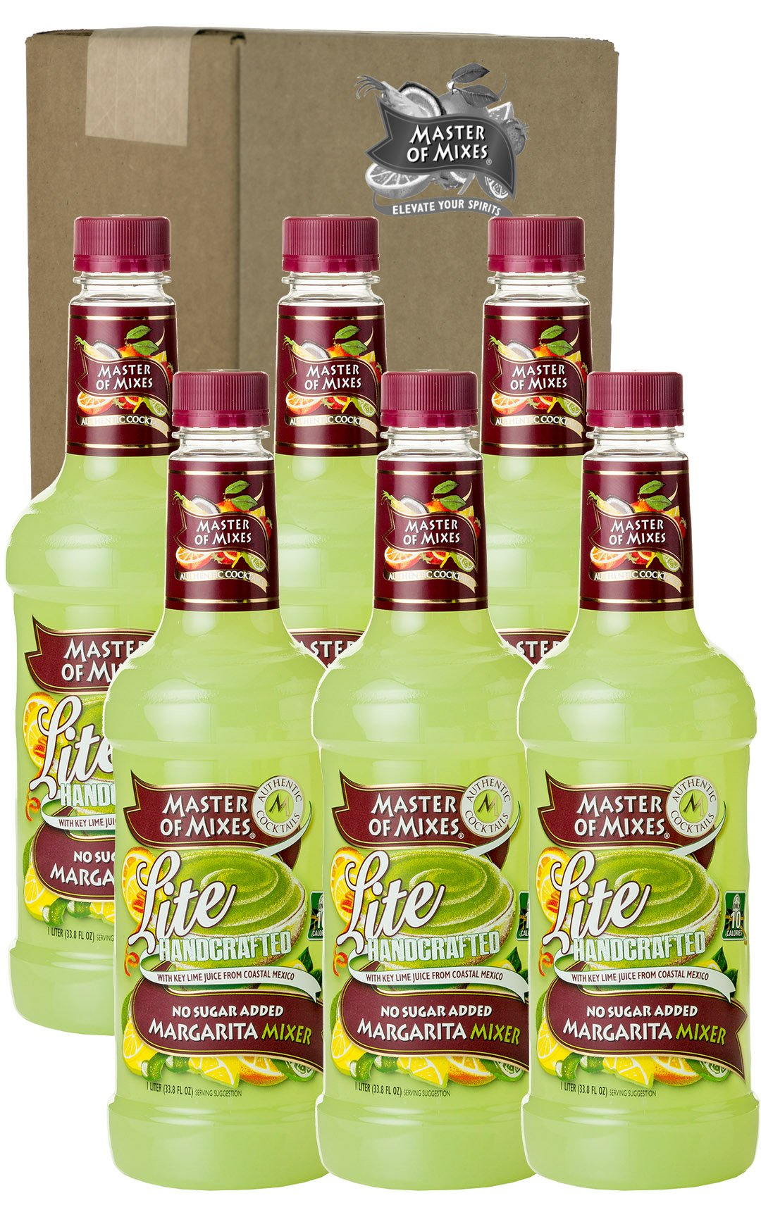Master of Mixes Margarita Lite Drink Mix, Ready To Use, 1 Liter Bottle (33.8 Fl Oz), Pack of 6 by Master of Mixes