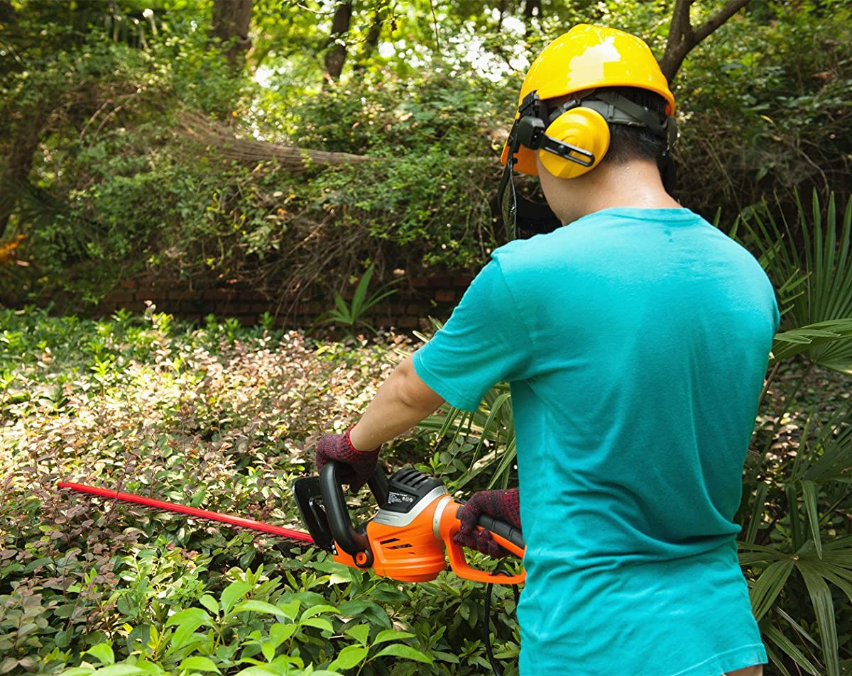 """GARCARE 4.8-Amp Corded Hedge Trimmer with Rotating Handle and 24"""" Dual Cutting Laser Blade, Blade Cover"""
