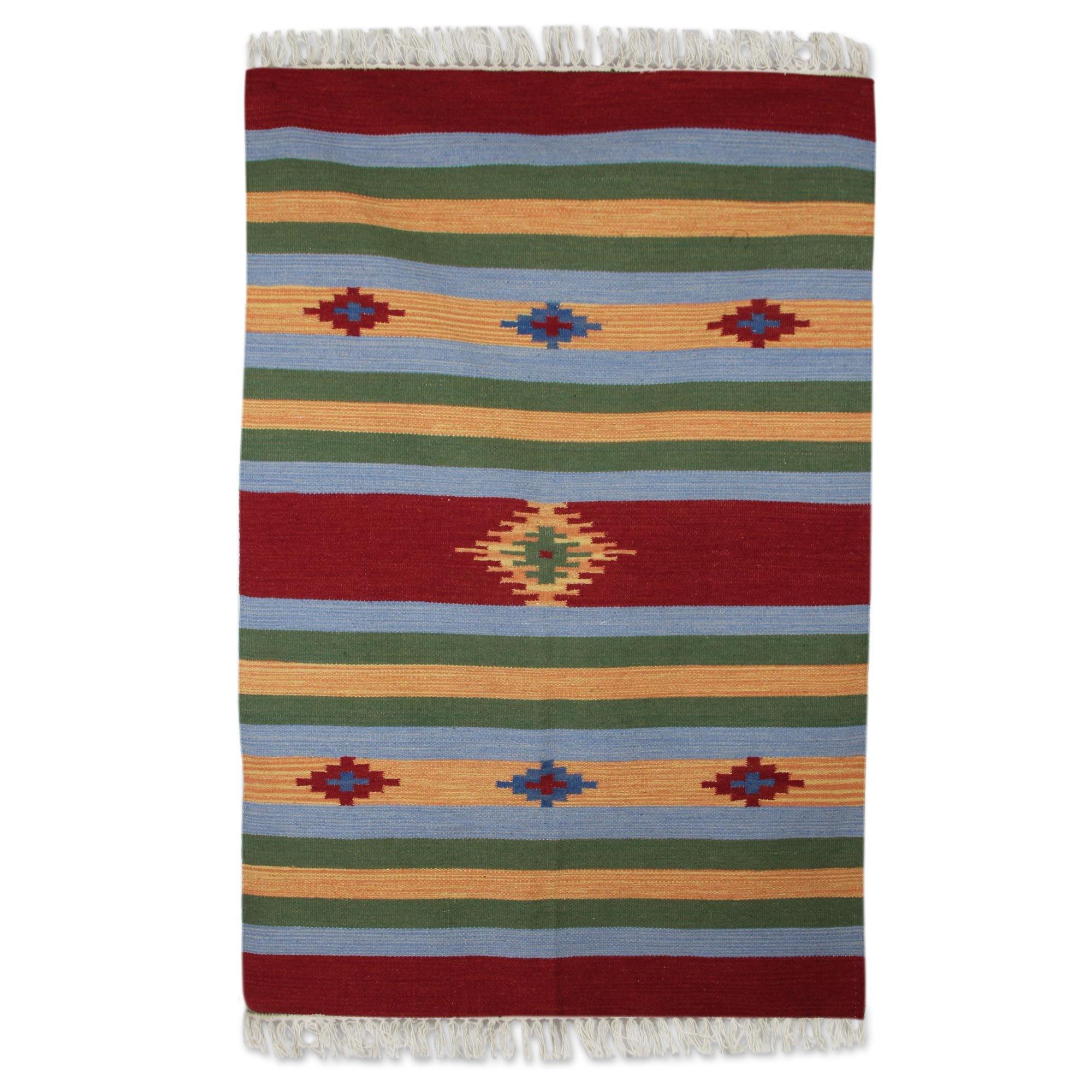 NOVICA Multicolor Wool Hand Woven Area Rug (4x6), 'Festival Of Stars'