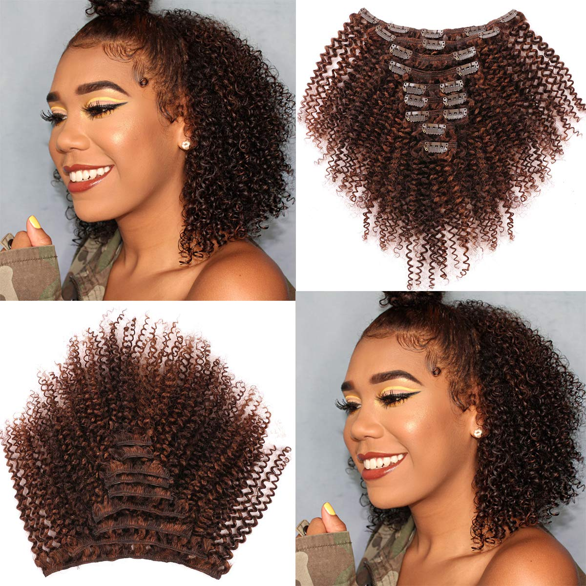 Amazon Com Bohemian Curly Clip In Hair Extensions Human Hair 3c 4a Short Afro Kinky Curly Clip Ins 12 Inch Thick Remy Hair Extensions For Black Women 9pcs 100g 20 Clips Full