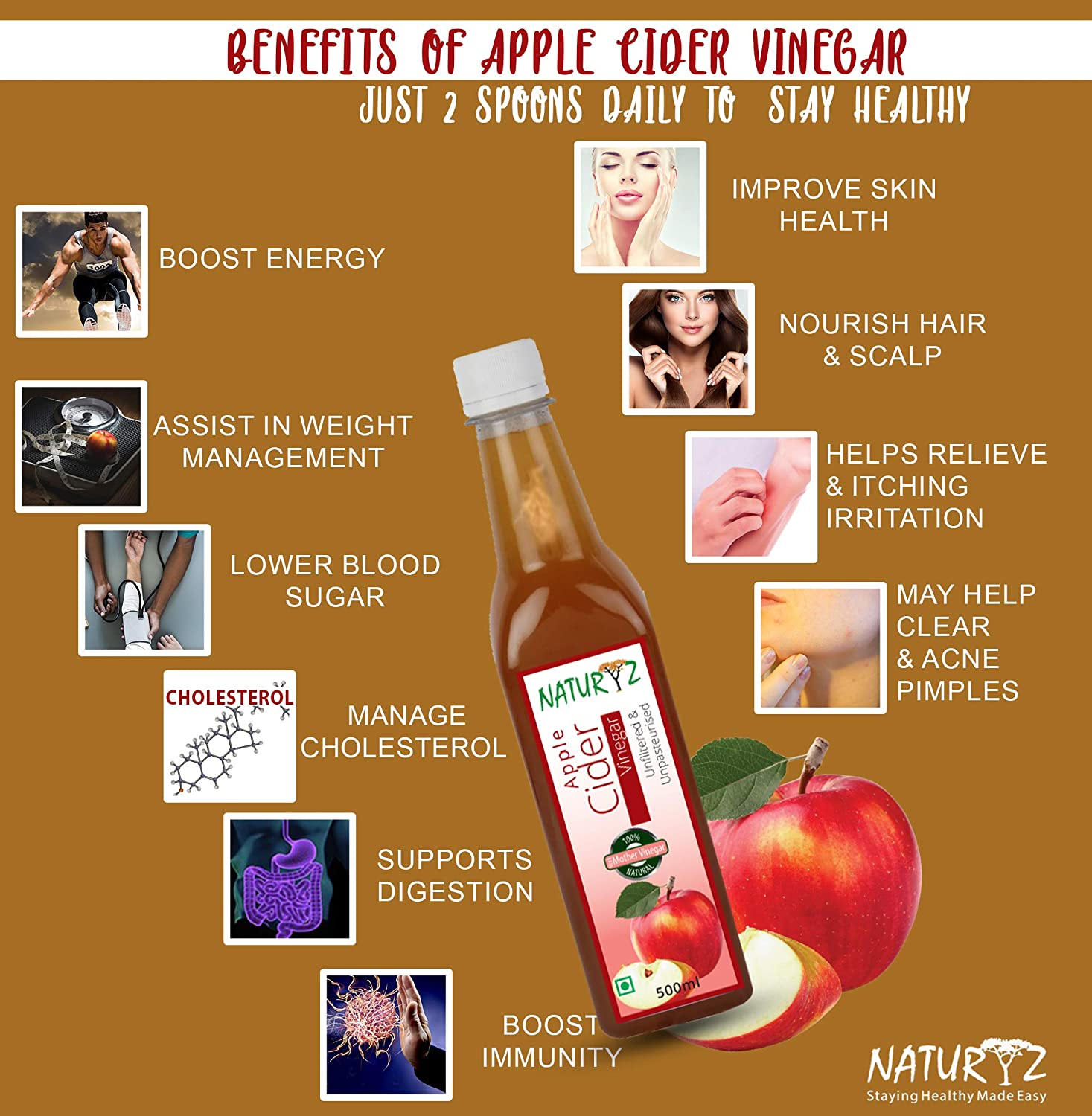 Naturyz Apple Cider Vinegar - 500 ml (Pack of 4) for Weight Loss, Skin  Treatment, Hair Growth (Natural, Raw, Unpasteurized, Undiluted)