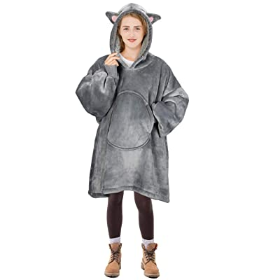 Cat Blanket Sweatshirt, Super Soft Warm Cozy Wearable Sherpa Hoodie for Teens, Boys, Girls, Youth, Kids (7-15yr), Oversize, Reversible, Hood & Large Pocket, One Size, Gray: Home & Kitchen