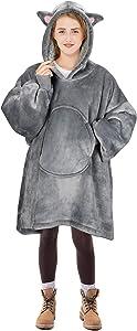 Cat Blanket Sweatshirt, Super Soft Warm Cozy Wearable Sherpa Hoodie for Teens, Boys, Girls, Youth, Kids (7-15yr), Oversize, Reversible, Hood & Large Pocket, One Size, Gray