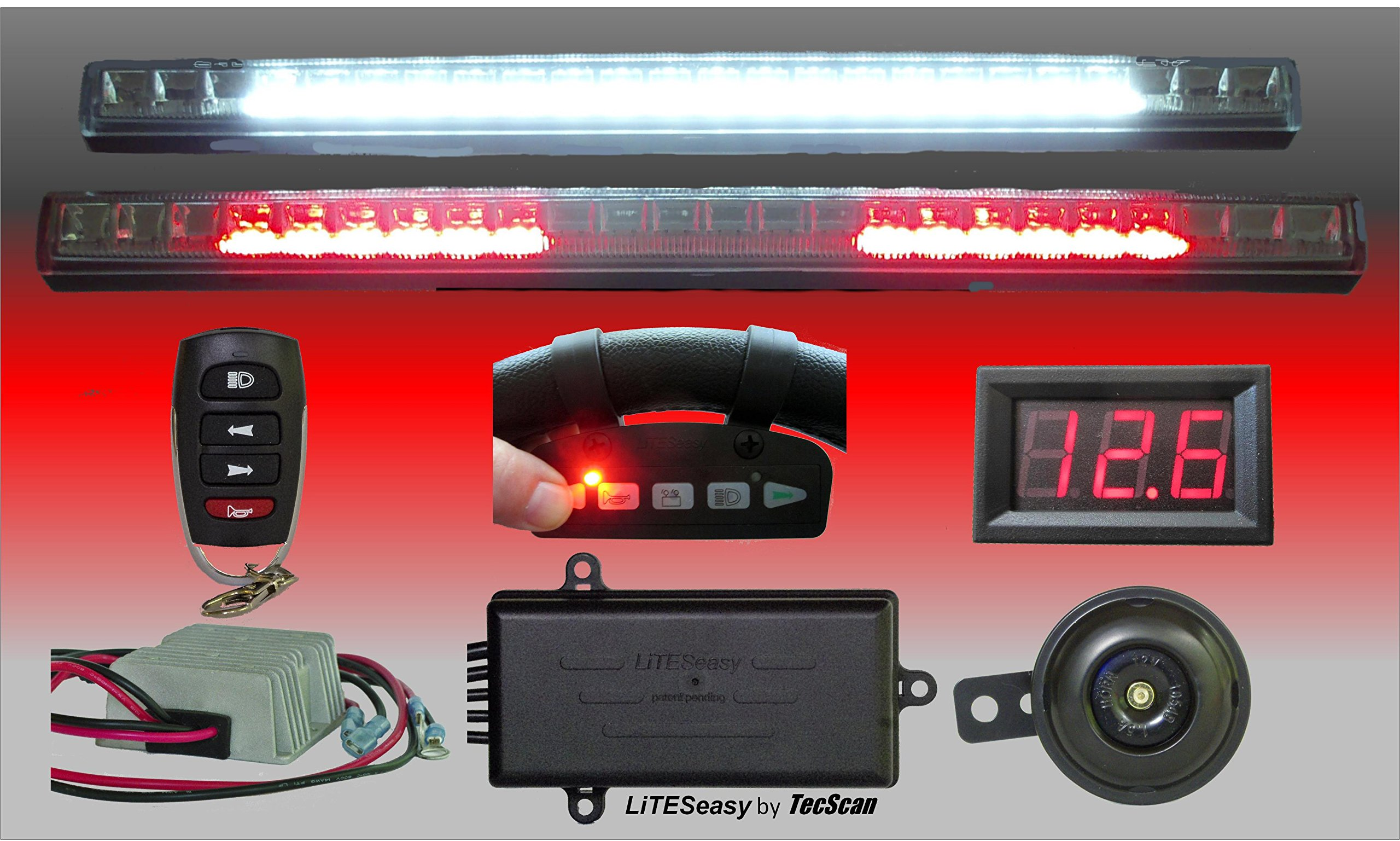 LiTESeasy DELUXE Golf Cart X2L BRIGHT LED Light Kit W/ TecScan Wireless Remote Controlled Headlights, Turn Signals, Hazard Signals and Brake Lights with Reducer