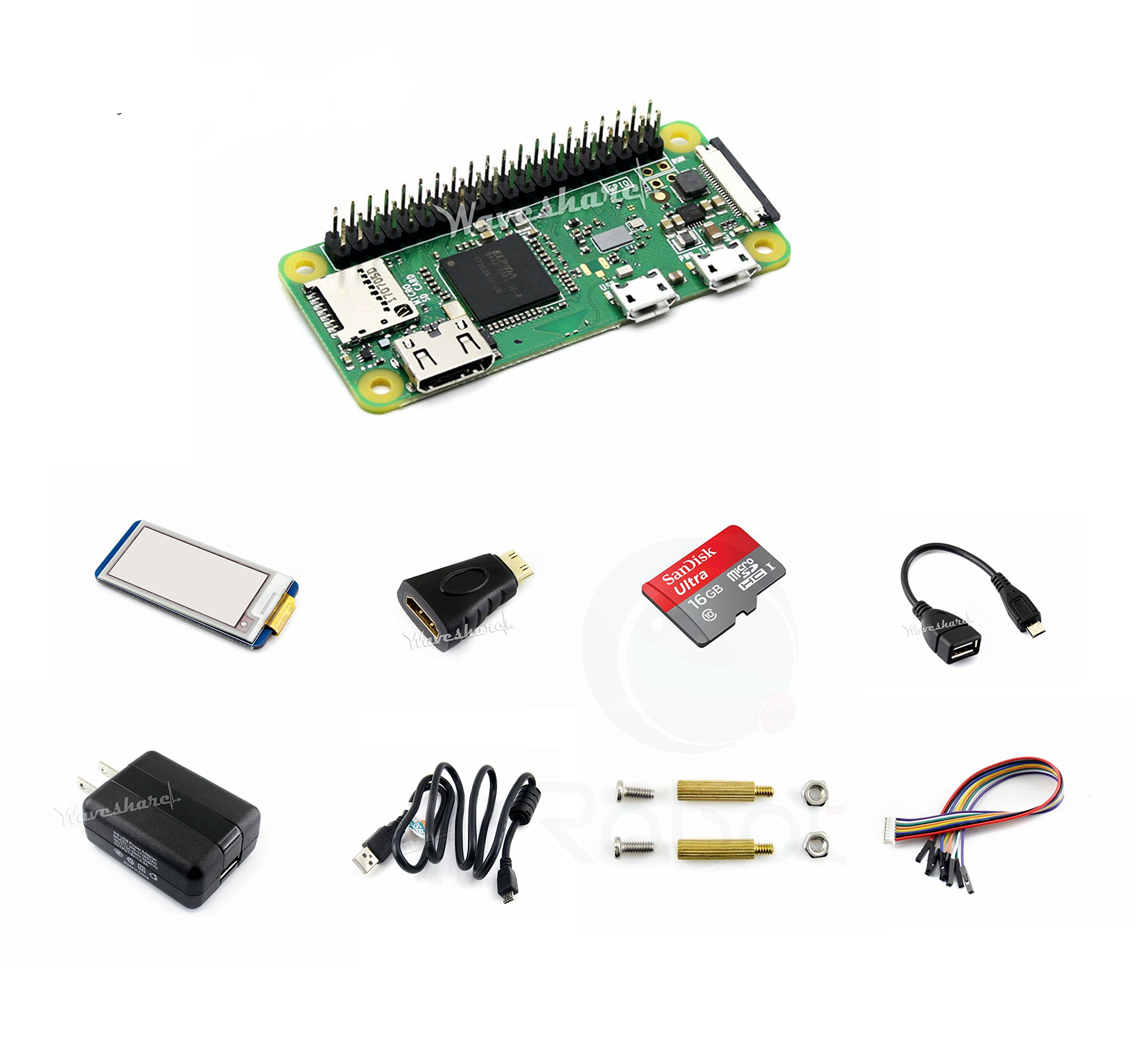 CQRobot Kit E with 2.13inch e-Paper HAT for Raspberry Pi Zero WH, Includes: Raspberry Pi Zero WH, Micro SD Card, Power Adapter, Mini HDMI to HDMI Adapter, Micro USB OTG Cable and Components.