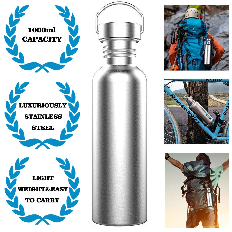 Botella de agua de acero inoxidable no aislado, 750 ml, a prueba de fugas, sin BPA, mantiene bebidas calientes o frías para deportes al
