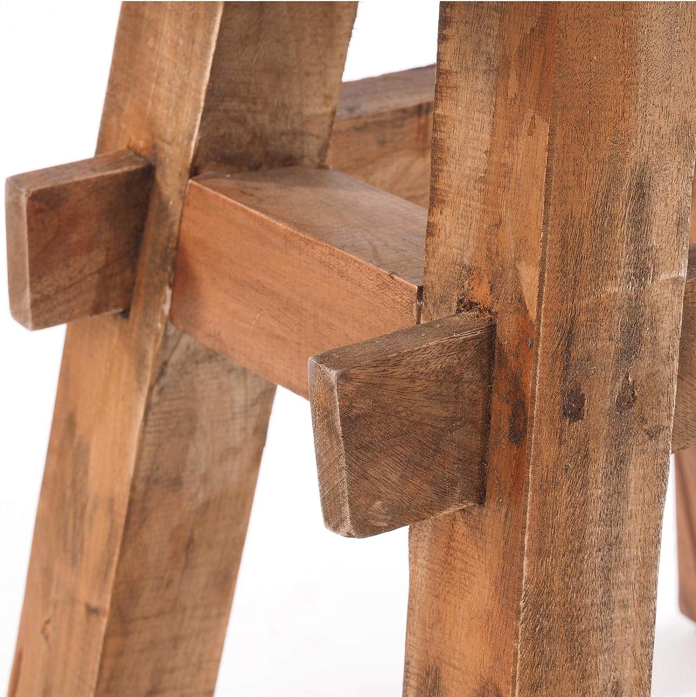 DESIGN DELIGHTS Tabouret Vintage en Bois Dur recyclé 49 x 45 x 27 cm