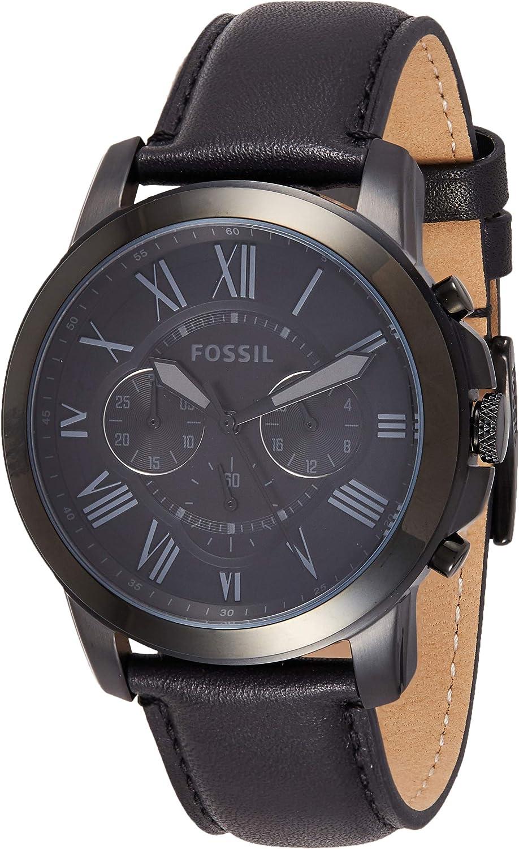 montre grant homme fossil noir fs5132p en solde
