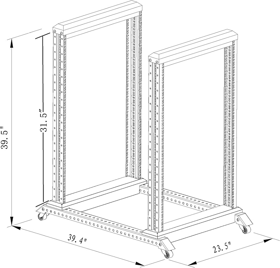 22U 4 Post Open Frame Network Server Rack 600mm Deep Base 3Pairs of L Rails