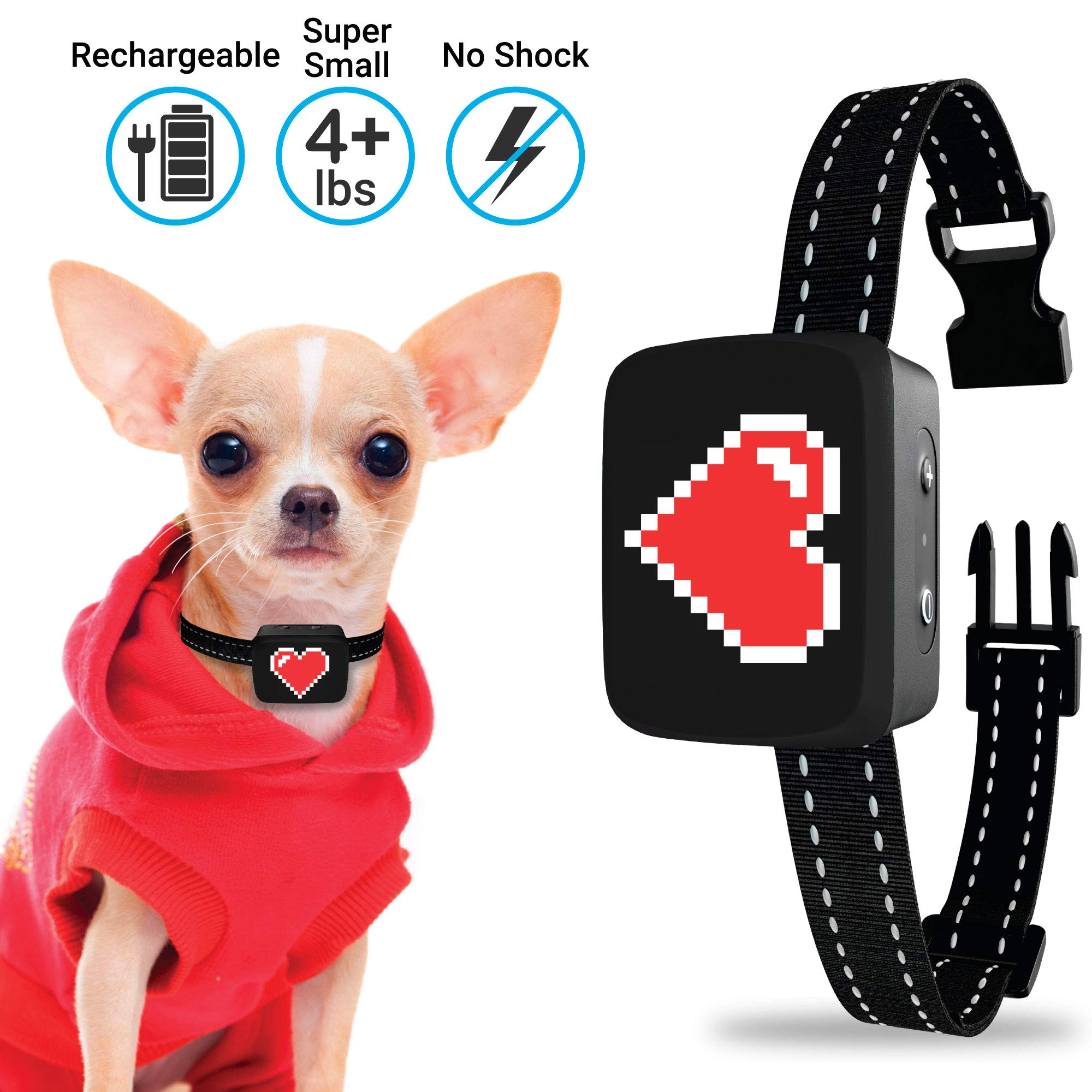 Small Dog Bark Collar Rechargeable – Anti Barking Collar For Small Dogs – Smallest Most Humane Stop Barking Collar – Dog…