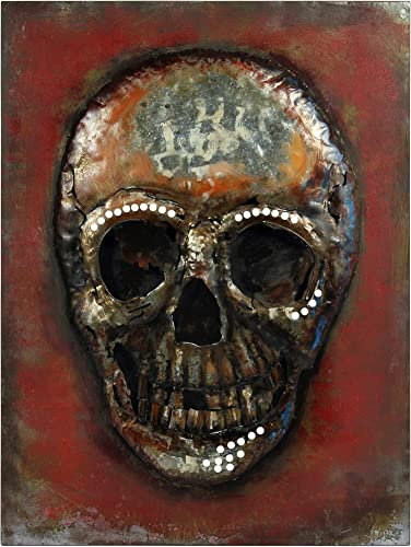 "Empire Art Direct ""Calavera"" Mixed Media Hand Painted Iron Wall Sculpture"