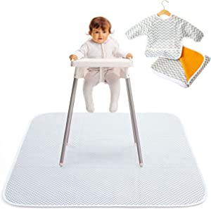 """2-In-1 Waterproof Baby Splat Mat for Under High Chair (51"""" x 51"""") with Toddler Smock and Weaning Ebook - Large Non-Slip Infant High Chair Mat Food Catcher Protects Floor from Mealtime Messes"""