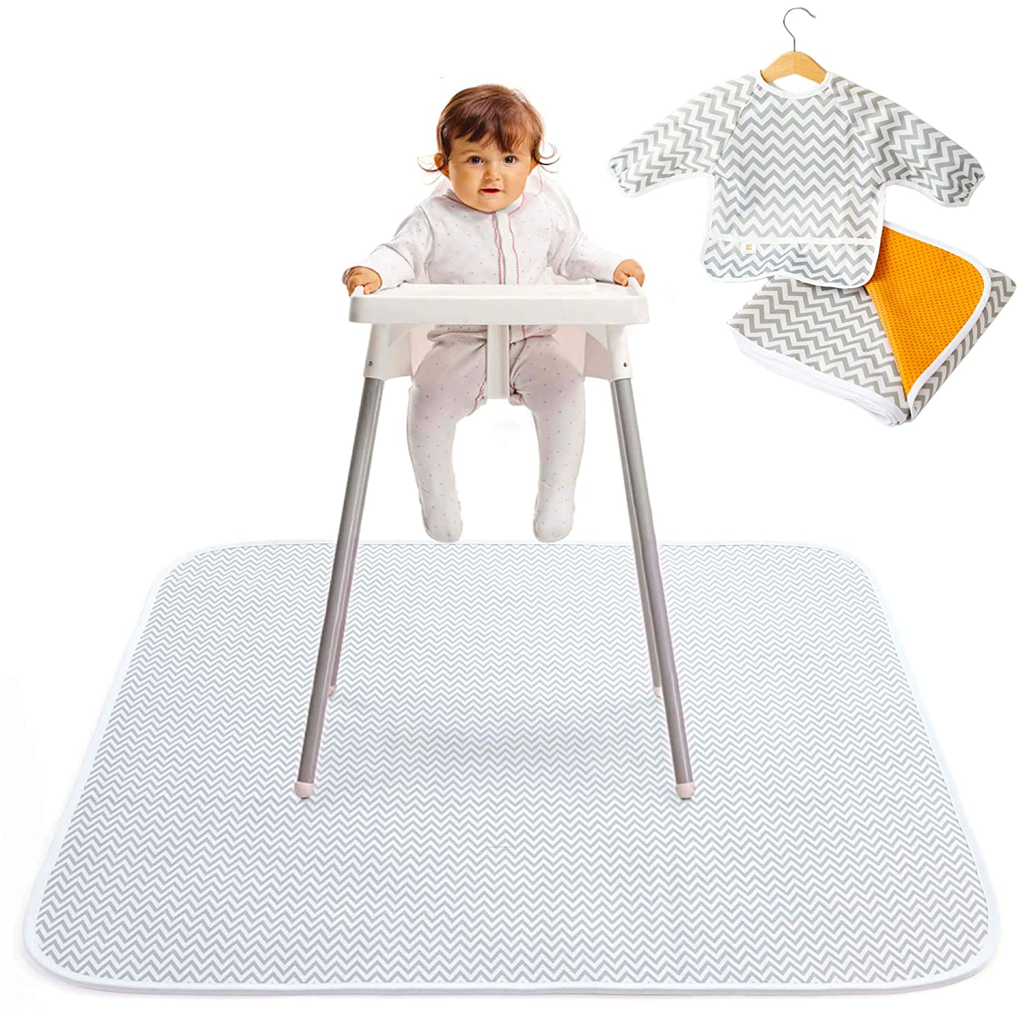 "2-in-1 Waterproof Baby Splat Mat for Under High Chair (51"" x 51"") with Toddler Smock and Weaning Ebook - Large Non-Slip Infant High Chair Mat Food Catcher Protects Floor from Mealtime Messes"