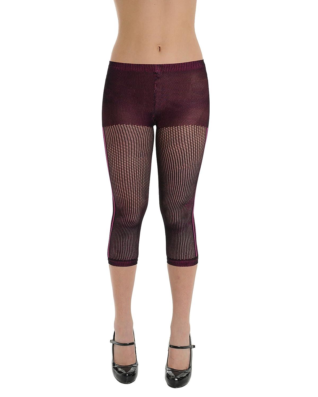 a8743db4936cc Womens Black and Raspberry Mesh Capri Fishnet Leggings Striped Tights at  Amazon Women's Clothing store: