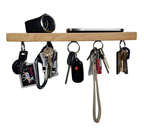 Brooklyn Basix Premium Magnetic Bar Wood Key Ring Holder And Shelf For Mail Letter Phone Wallet Sunglasses Wall Mounted Organizer Perfect For