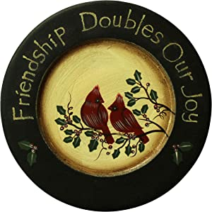 CVHOMEDECO. Primitives Hand Painted Red Birds Decorative Plate Rustic Round Display Wooden Plate Home Décor Art, 9-3/4 Inch