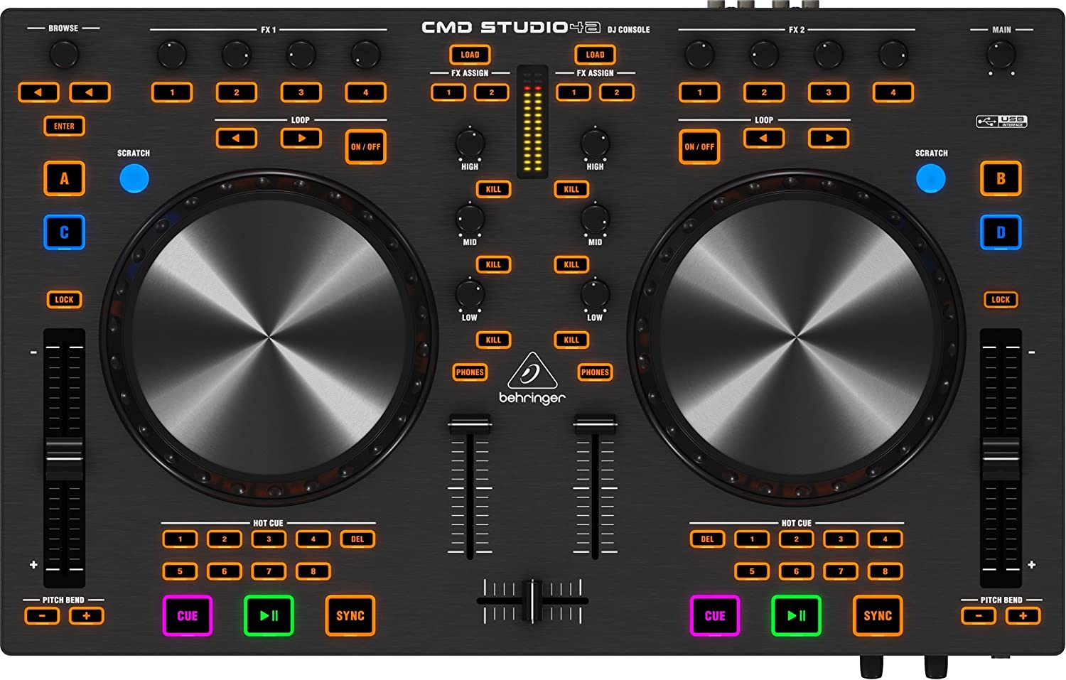 4-Deck DJ MIDI Controller with 4-Channel Audio Interface Behringer CMDSTUDIO4A
