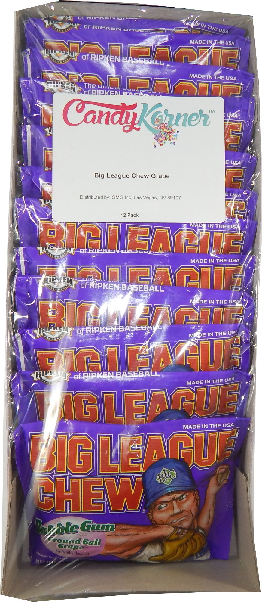 Big League Chew Grape (Pack of 12) - 2.12oz by Candy Korner