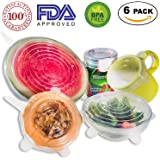 Silicone Stretch Lids - Reusable, Durable, Expandable Covers BPA Free, FDA Approved for Keeping Food Fresh, Dishwasher, Microwave, Freezer Safe, 6-Pack of Various Sizes to Fit Various Shaped Containers (Clear)