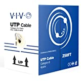 VIVO Grey 250 ft Bulk Cat6 (CCA) Ethernet Cable 23 AWG/Wire UTP Pull Box 250ft Cat-6 (CCA) (CABLE-V015)