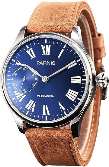 PARNIS Modelo 2144 mano aufzugs Reloj con números romanos 44 mm Reloj de pulsera para hombre con agarre cebollas Corona y grande sichtlglas Seagull ST36 ...